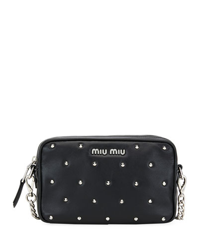 Jeweled-Stud Leather Crossbody Bag