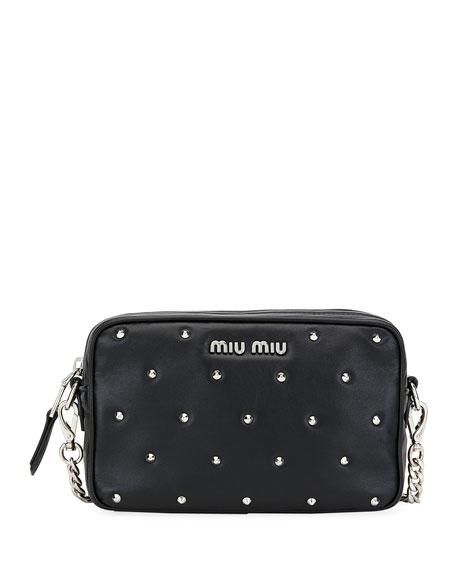 Miu Miu Jeweled-Stud Leather Crossbody Bag 72684ea25d199