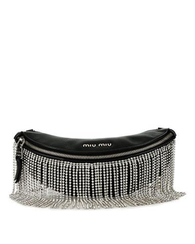 Crystal Fringe Napa Leather Fanny Pack/Crossbody Bag
