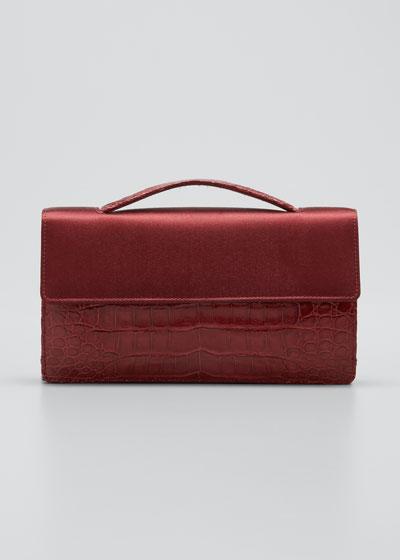 Small Satin & Crocodile Evening Clutch Bag