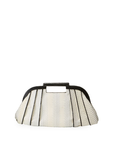 Small Ruched Snake Frame Clutch Bag