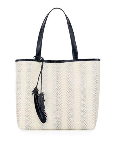 Erica Two-Tone Snake/Crocodile Tote Bag