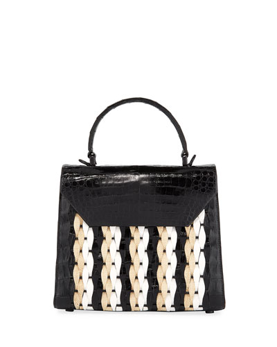 Lily Medium Woven Straw/Crocodile Top-Handle Bag