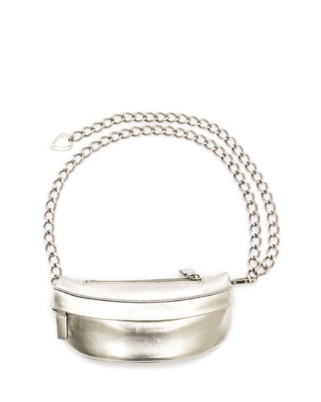 AVEC LA TROUPE Metallic Leather Troupe Bag, Silver