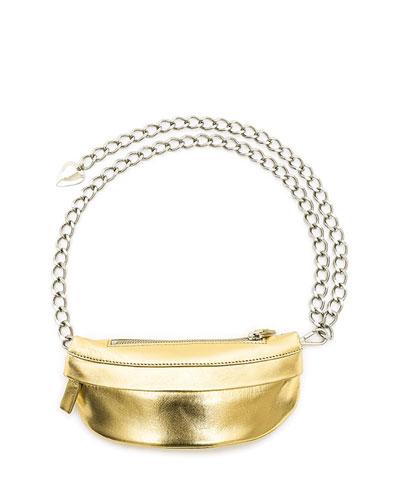 Metallic Leather Troupe Bag, Gold