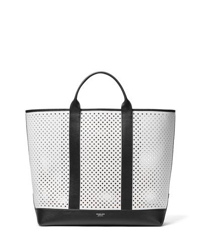 Colorblock Perforated Calf Tote Bag