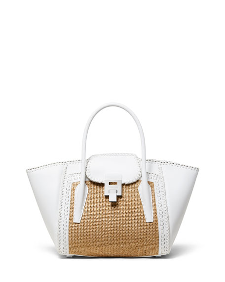 Straw and Leather Medium Satchel Bag