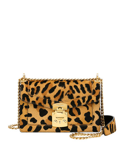 Leopard-Print Calf Hair Crossbody Bag