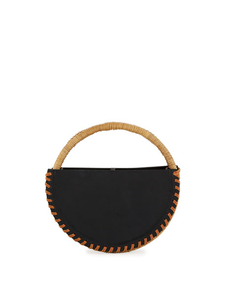 WAIWAI Alfaia Petite Leather Top Handle Bag in Black