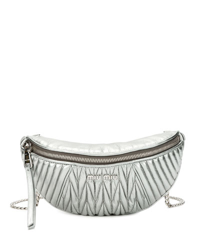 Metallic Matelassé Belt Bag