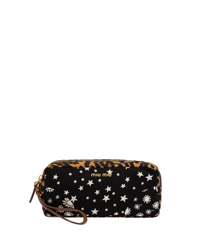 Faille Mix-Print Cosmetic Bag