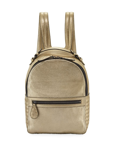Grainy Metallic Leather Backpack