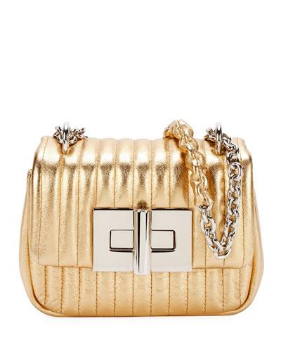 Natalia Mini Soft Metallic Leather Shoulder Bag