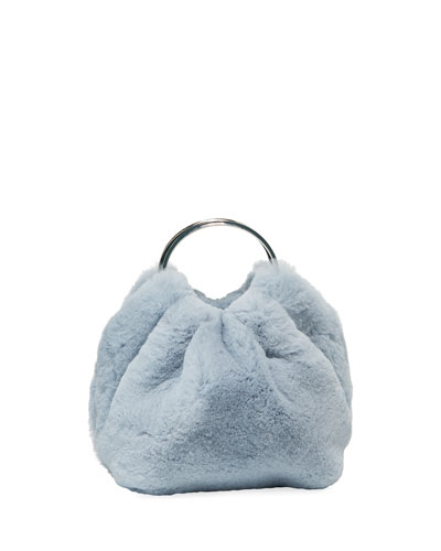 Double Circle Micro Fur Top Handle Bag