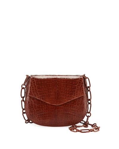 Crocodile Saddle Shoulder Bag