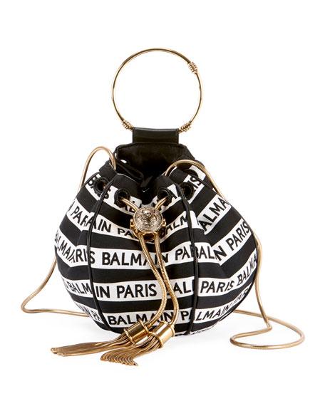 Balmain Mini B Jacquard Bucket Bag