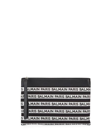 Balmain Mariniere Medium Logo Clutch Bag