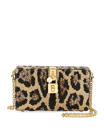 Dolce Leopard-Print Crystal Beaded Box Clutch Bag