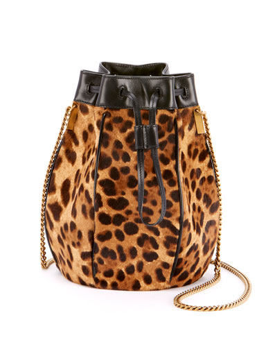 Talitha Leopard-Print Fur Medium Bucket Bag