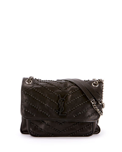 Niki Medium Monogram YSL Studded Shoulder Bag