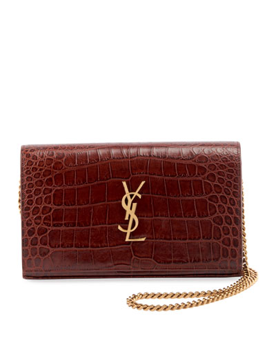 Kate Monogram YSL Croco Wallet on Chain
