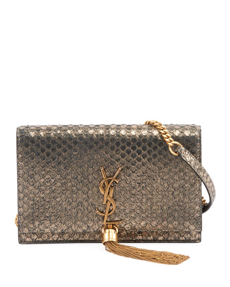 8a8835f73f88 Saint Laurent Kate Monogram YSL Small Python-Effect Tassel Wallet on Chain  - Golden Hardware