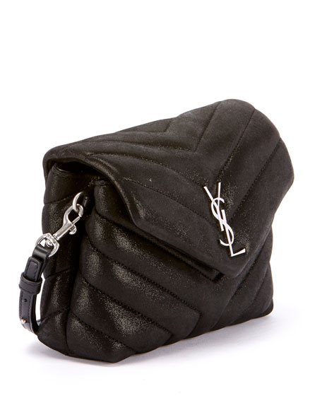 Loulou Monogram YSL Mini V-Flap Calf Suede-Effect Wallet on Chain