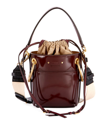 Roy Mini Glossy Leather Bucket Bag