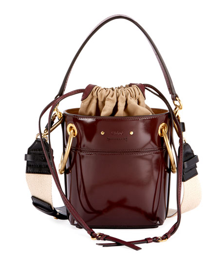 Chloe Roy Mini Glossy Leather Bucket Bag