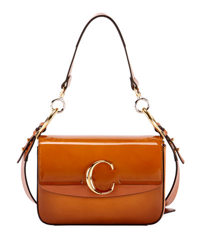 C Small Glossy Calf Shoulder Bag