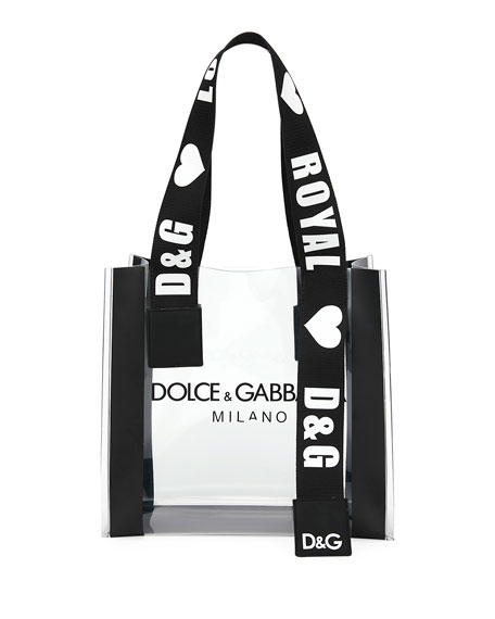 Dolce & Gabbana See-Through Screen-Printed Shopping Tote Bag