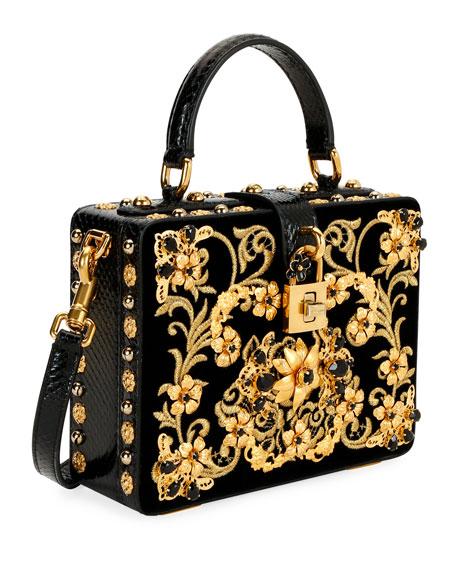 Ricamo Cotton Box Top Handle Bag