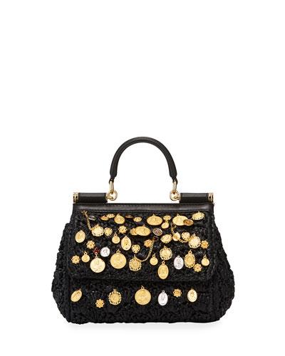Sicily Small Embellished Raffia Shoulder Bag