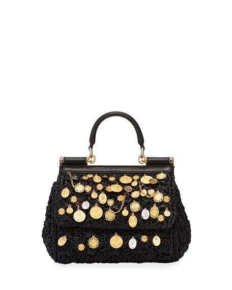 Dolce & Gabbana Sicily Small Embellished Raffia Shoulder