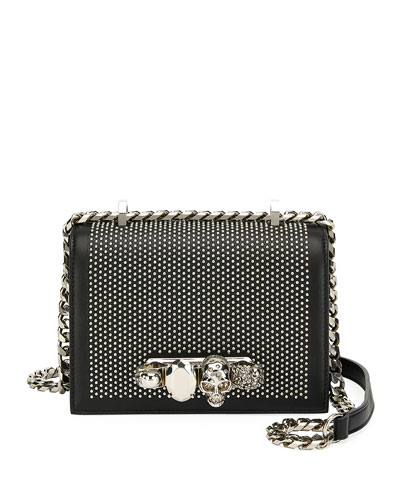Small Jeweled Knuckle Flap Shoulder Bag