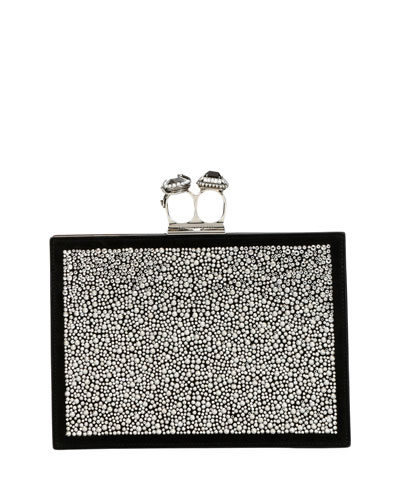 Jeweled Double Ring Crystal Clutch Bag