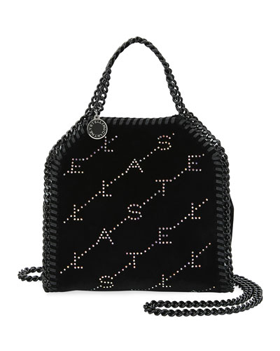 Falabella Tiny Crystal Monogram Velvet Tote Bag
