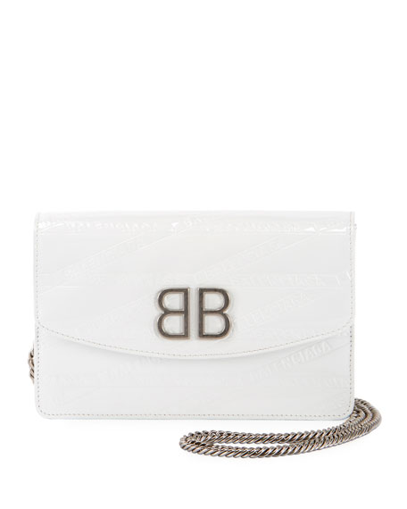 BB Logo-Embossed Patent Wallet On Chain - Silvertone Hardware