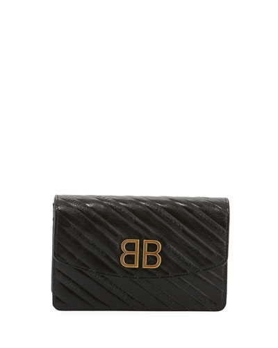 BB Logo-Embossed Grain Leather Wallet On Chain