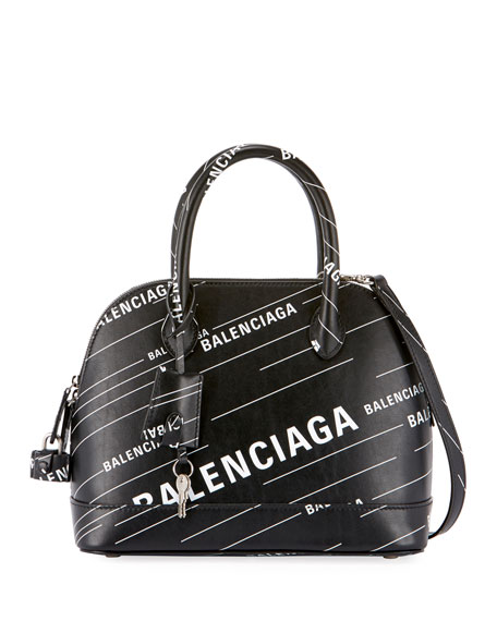 Balenciaga Ville Small AJ Logo-Print Leather Top-Handle Bag