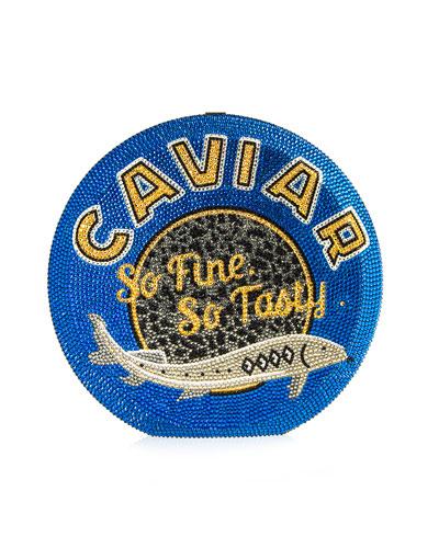 Caviar Disc Crystal Crossbody Clutch Bag