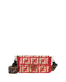 Baguette Ff Raffia Shoulder Bag by Fendi