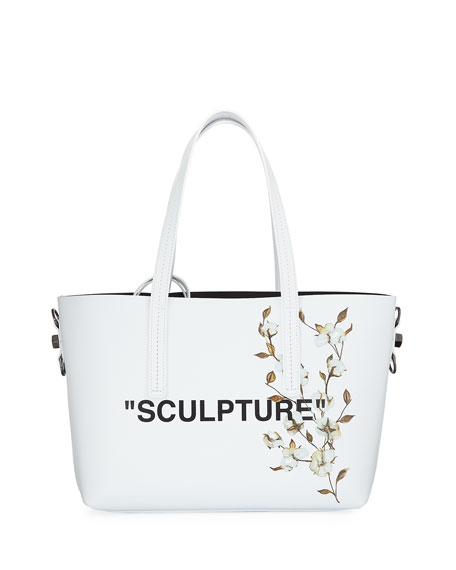 Off-White Cotton Flower Shopper Tote Bag