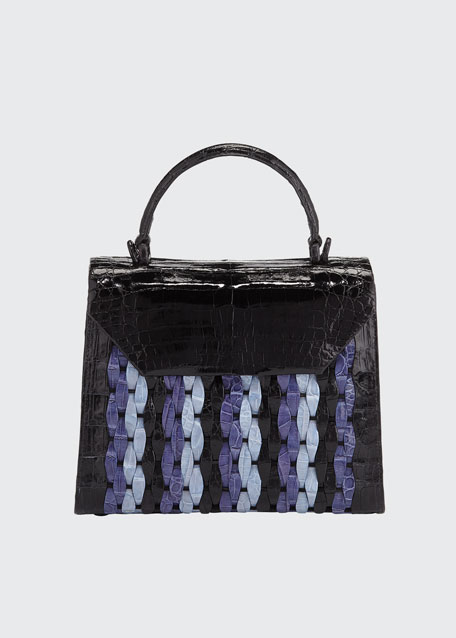 Nancy Gonzalez Lily Medium Woven Straw/Crocodile Top-Handle Bag
