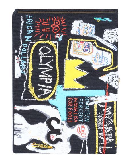 Basquiat Crown Hotel Artwork Book Clutch Bag in Black