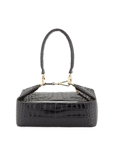 Olivia Crocodile-Embossed Top Handle Bag  Black