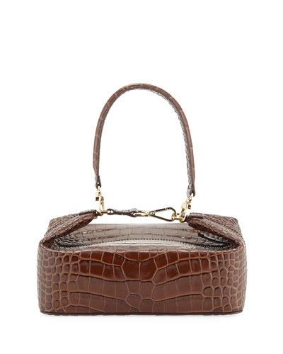 Olivia Crocodile-Embossed Top Handle Bag, Brown
