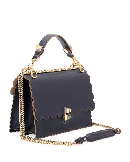 Kan I Scalloped Leather Shoulder Bag