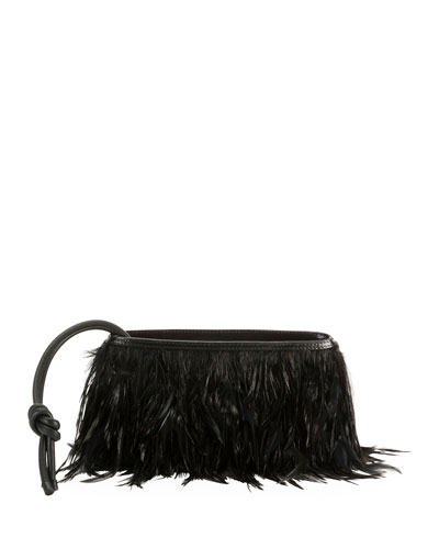 Feather Wristlet Clutch Bag