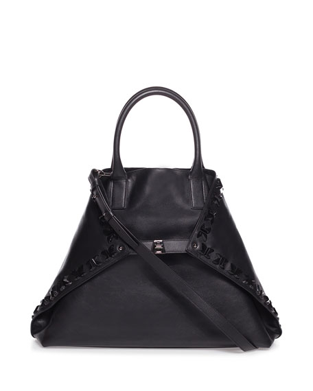 Akris Ai Magnets Medium Bratescu Leather Top-Handle Tote